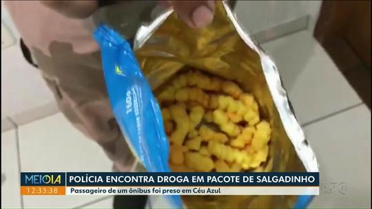 Polícia encontra droga em pacote de salgadinho