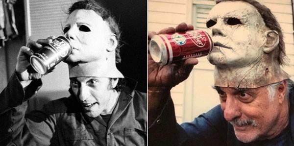 Castle resolveu repetir a foto do filme de 1978 que se tornou famosa entre os fãs de filmes de terror (Foto: Reprodução)