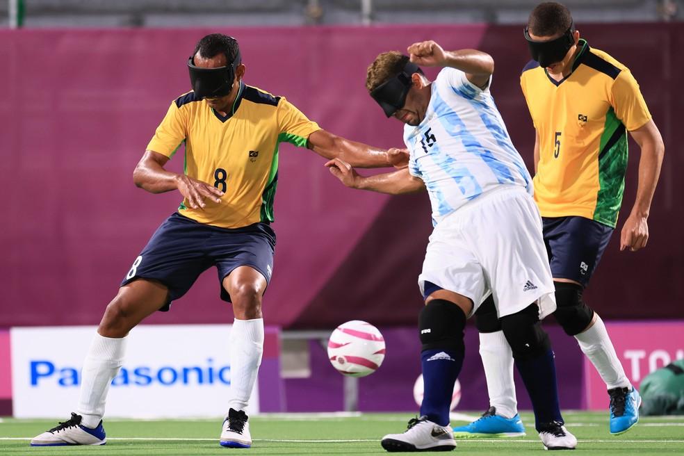 Brasil x Argentina na final do futebol de 5 das Paralimpíadas — Foto: Buda Mendes/Getty Images