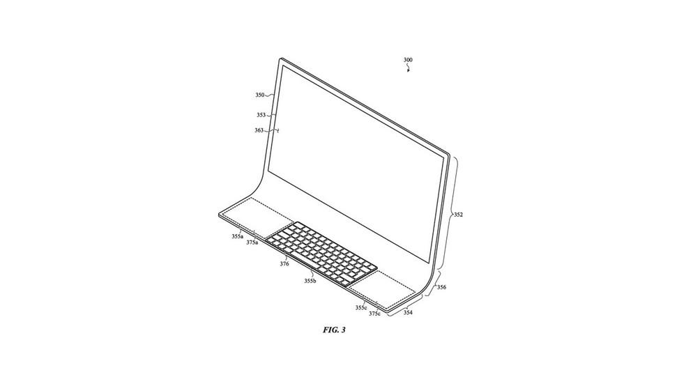 Possível iMac seria composto de uma peça única de vidro — Foto: Reprodução/USPTO