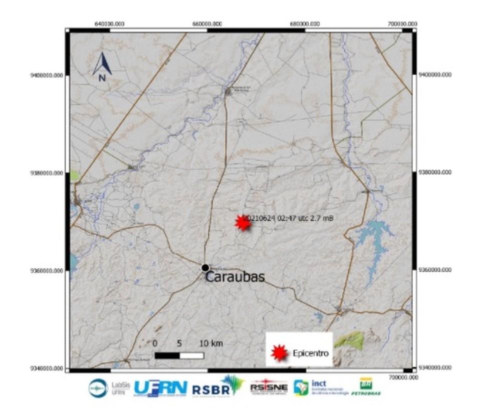 Tremor de magnitude 2.7 foi registrado em Caraúbas na noite desta quarta-feira, 23. — Foto: LabSis/UFRN