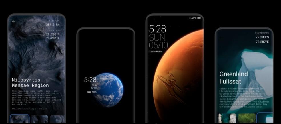 MIUI 12 apresenta papeis de parede 3D da Terra e de Marte — Foto: Divulgação/Xiaomi