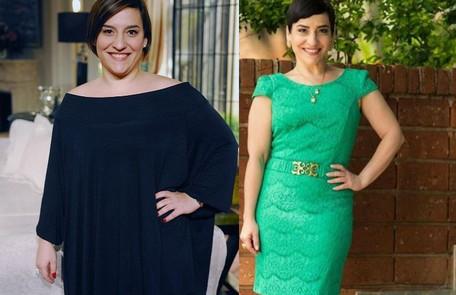 Simone Gutierrez em 2010, durante 'Passione', e depois de emagrecer mais de 40kg João Miguel Júnior/ TV Globo e Reprodução