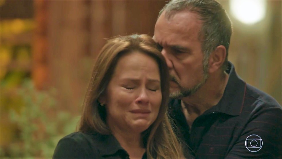 Germano (Humberto Martins) consola Lili (Vivianne Pasmanter) — Foto: TV Globo