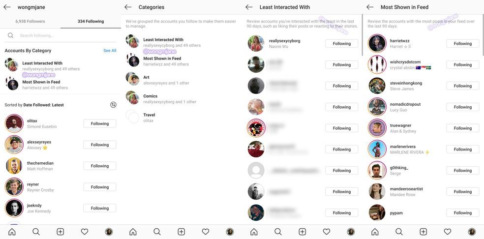 Em fase de testes, novo recurso do Instagram agrupa automaticamente os perfis seguidos — Foto: Reprodução/Jane Manchun Wong