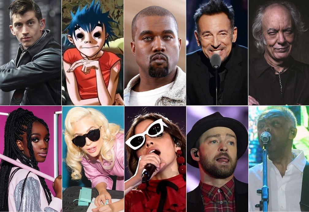 Da esquerda, acima: Arctic Monkeys, Gorillaz, Kanye West, Bruce Springsteen, Erasmo Carlos, Iza, Lady Gaga, Camila Cabello, Justin Timberlake, Gilberto Gil  (Foto: G1, Reuters, AFP, Divulgação, Jefferson Peixoto/Secom)