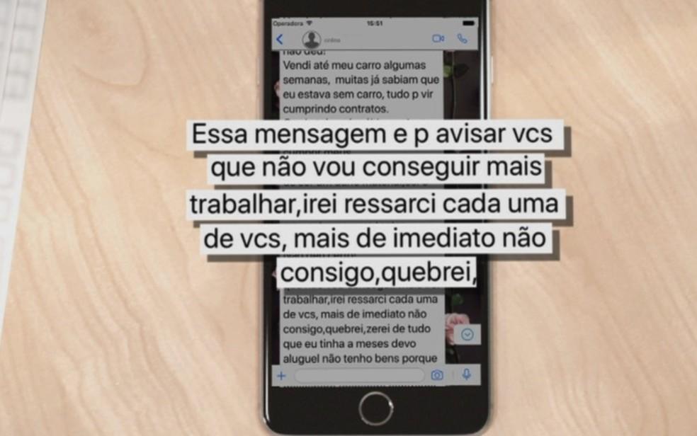 Decoradora envia mensagem falando que não tem dinheiro para honrar contratos, em Goiânia, Goiás — Foto: Reprodução/TV Anhanguera