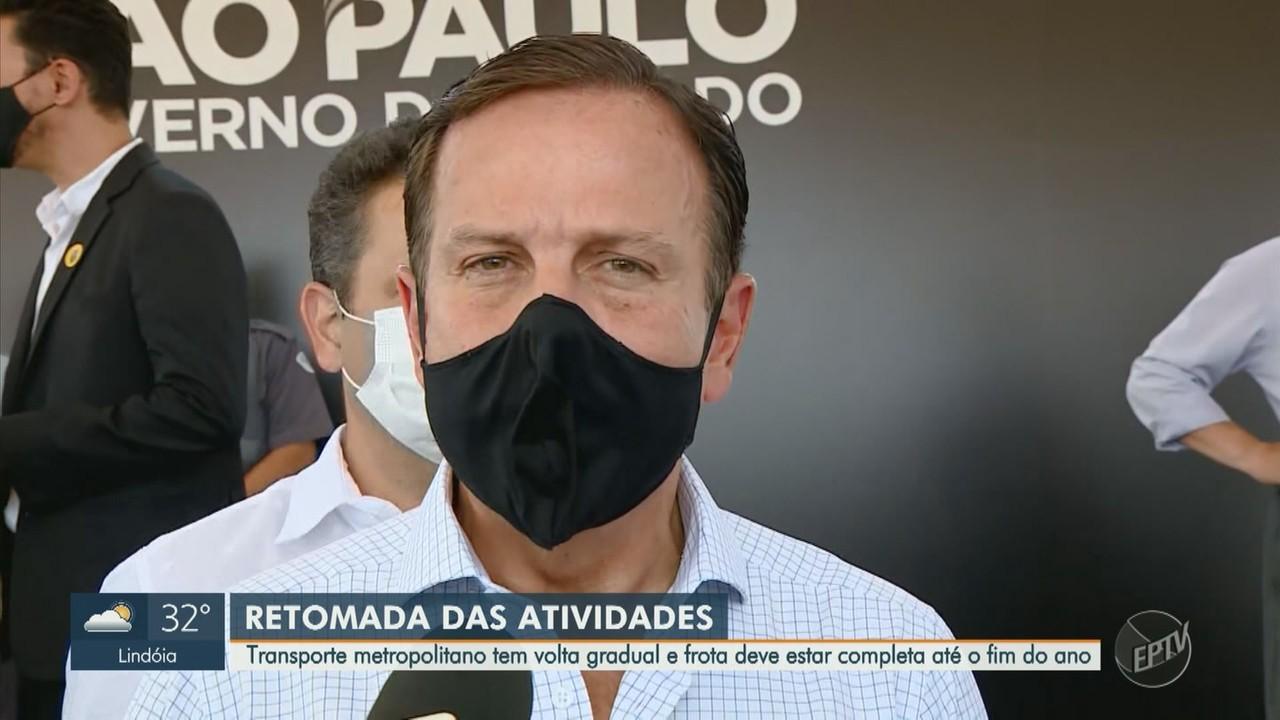 Governador de SP fala sobre provável avanço para fase verde na região de Campinas