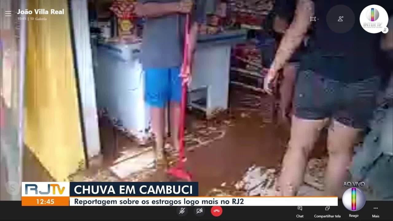 Reportagem com a cobertura dos estragos causados pela chuva em Cambuci continua no RJ2