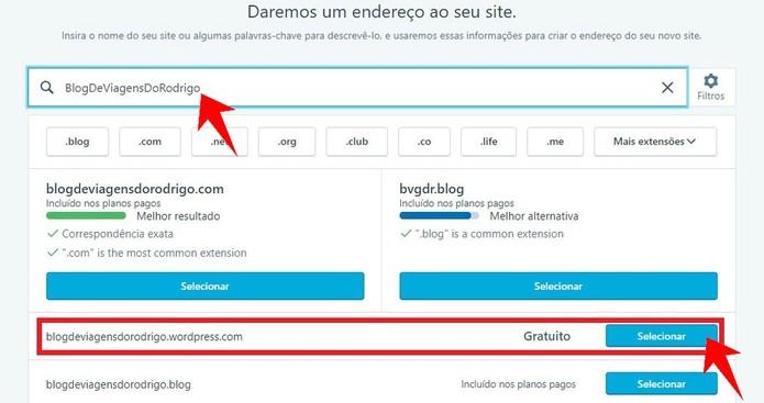 Digite o endereço do seu site para criar um domínio no WordPress (Foto: Reprodução/Rodrigo Fernandes)