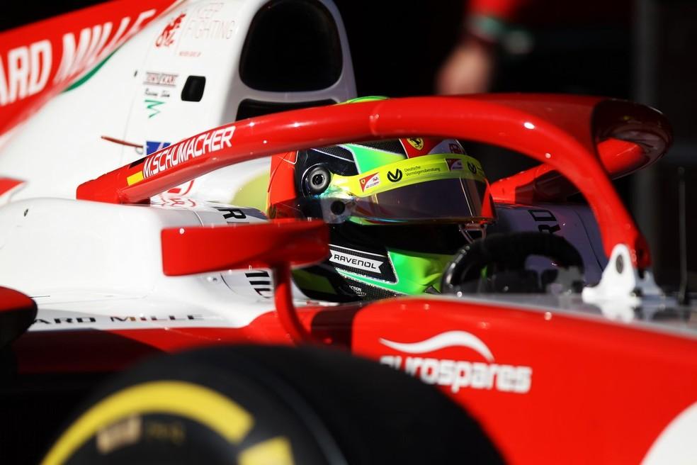 Mick Schumacher nos testes de pré-temporada da F2 em Jerez — Foto: Rerprodução/Twitter