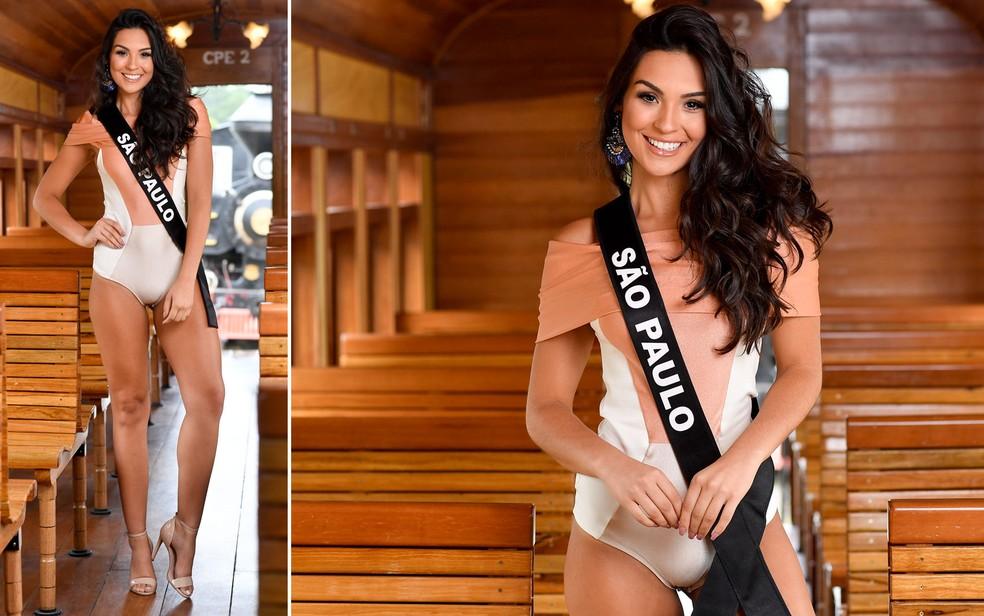 Bianca Lopes, 22 anos, Miss São Paulo, ficou em terceiro lugar no Miss Brasil — Foto: Rodrigo Trevisan/Divulgação/Miss Brasil