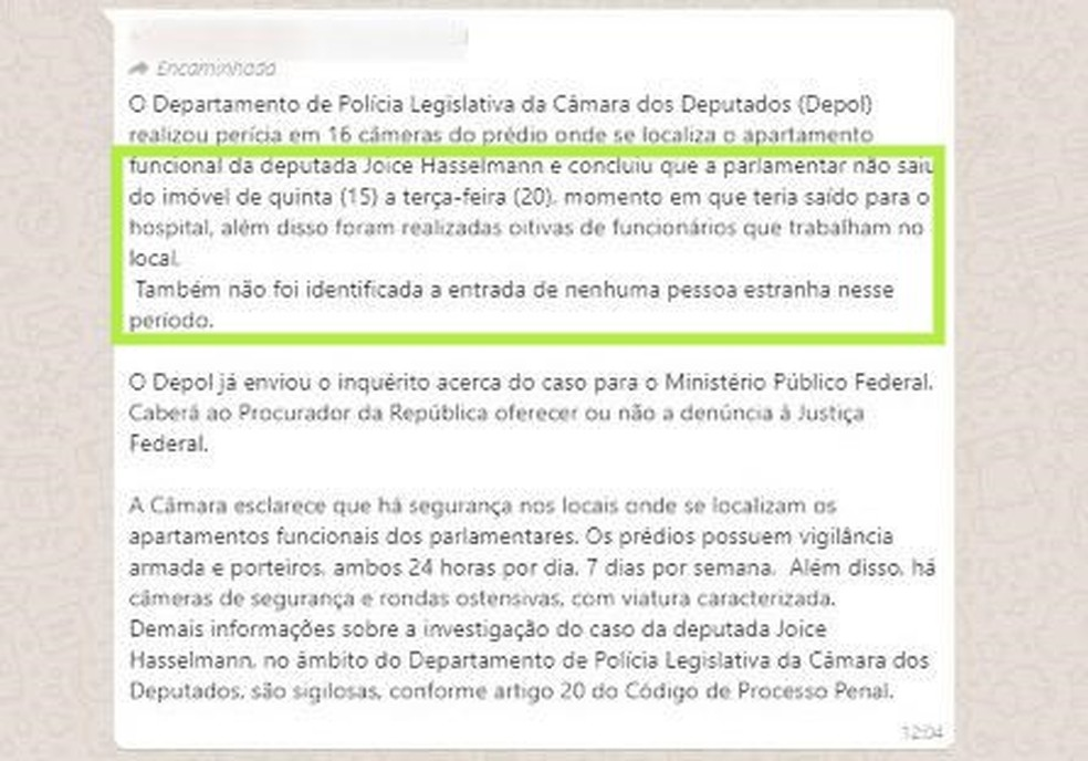 Nota enviada pela Secom da Presidência da Câmara dos Deputados — Foto: Reprodução
