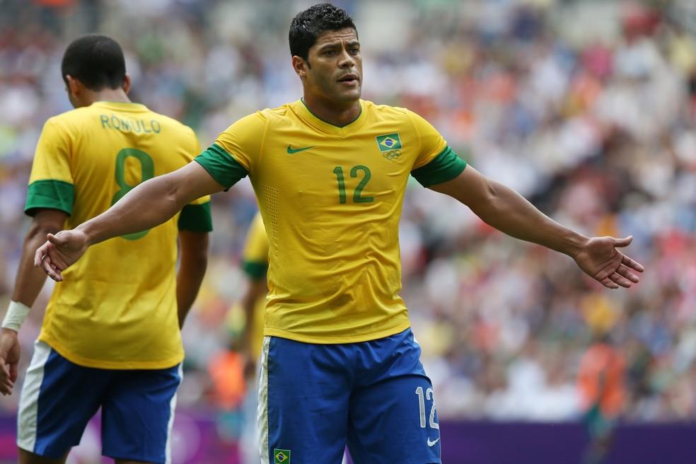 Hulk marcou o gol do Brasil na derrota por 2 a 1 para México na final olímpica de 2012 — Foto: Getty Images