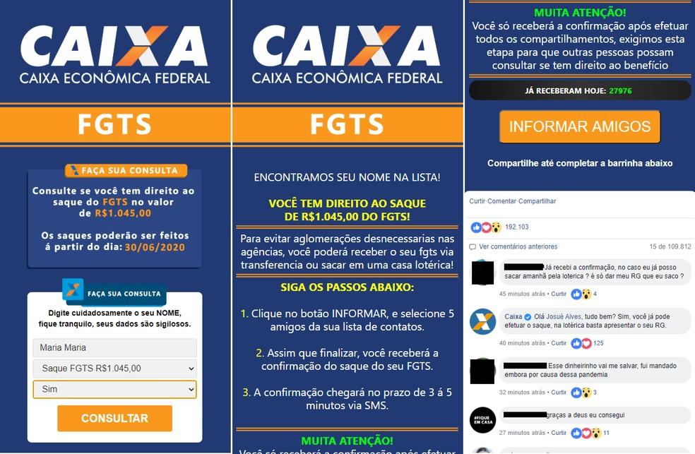 Página do link malicioso oferece FGTS — Foto: Reprodução/PSafe