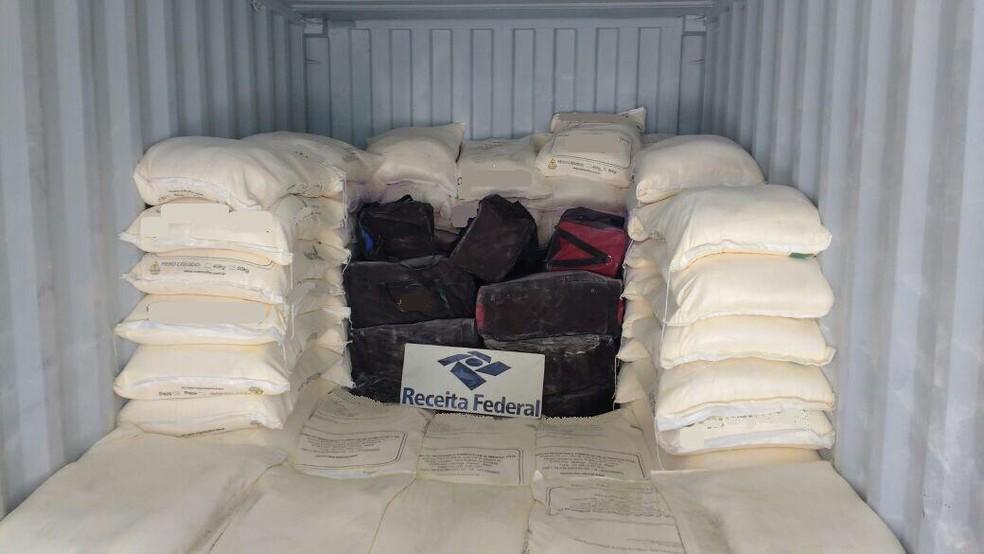Carca com cocaína achada no Porto de Santos, SP, é atribuída a Bruno pela PF — Foto: Arquivo/G1