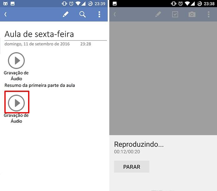 OneNote para Android pode ter nota de voz reproduzidas dentro de notas (Foto: Reprodução/Elson de Souza)