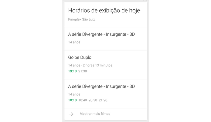 Google Now Card com sessões de cinema (Foto: Reprodução/ Raquel Freire) (Foto: Google Now Card com sessões de cinema (Foto: Reprodução/ Raquel Freire))
