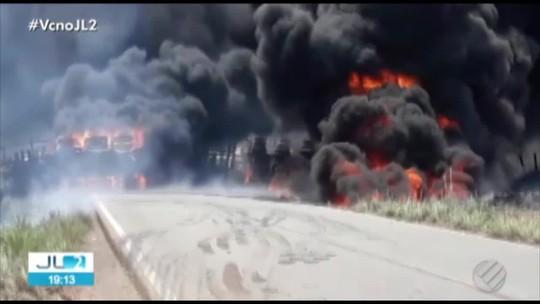 Caminhão carregado de combustível explode após acidente na PA-150