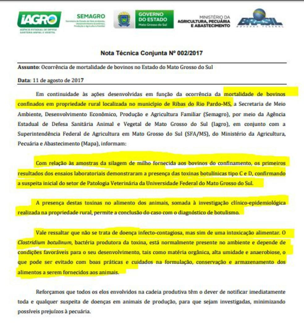 Nota técnica divulgada pela Semagro, Iagro e SFA sobre morte de bovinos em MS (Foto: Reprodução/TV Morena)