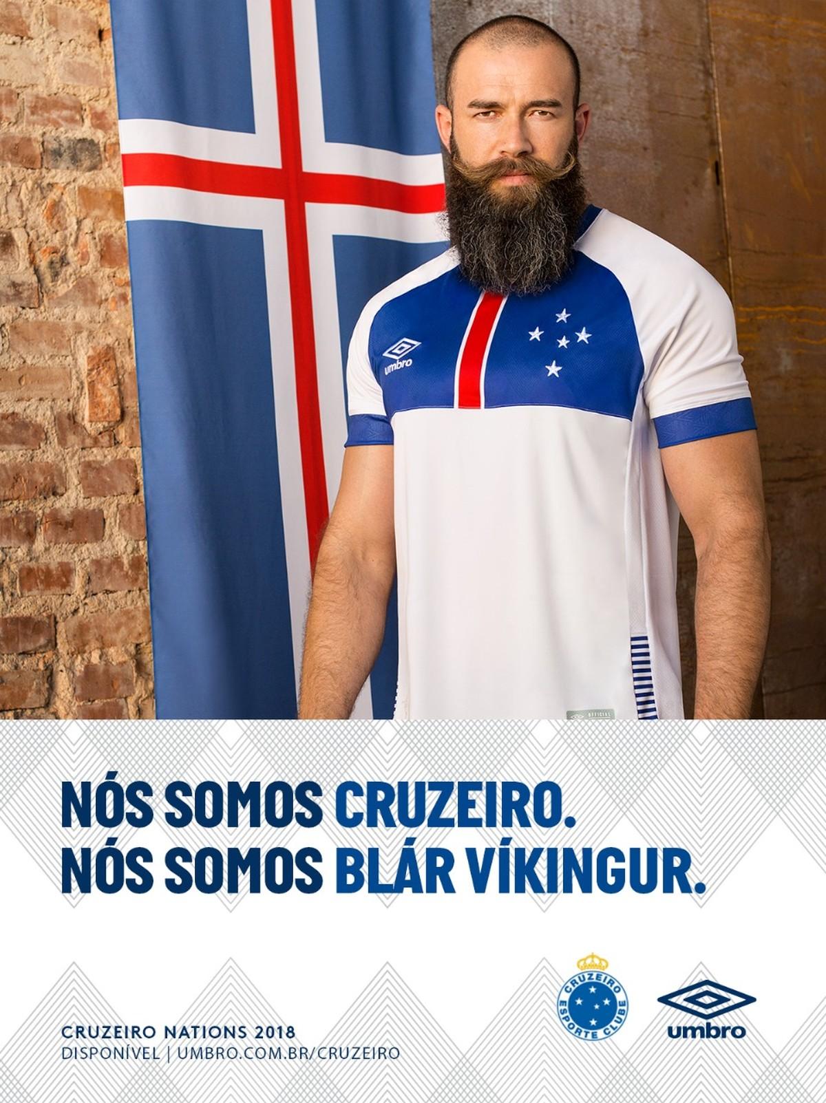 Segunda camisa do Cruzeiro é lançada com homenagem à seleção da Islândia  bce13e72a03fe