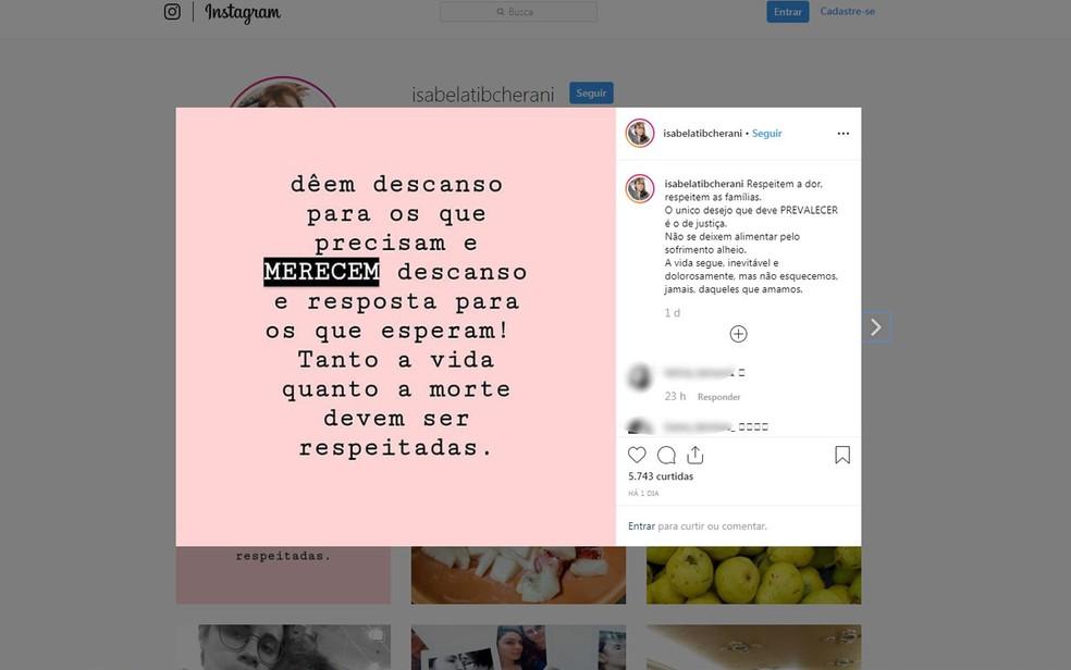 Isabela usa as redes sociais para comentar o caso do assassinato do namorado Rafael e dos pais dele — Foto: Reprodução/Arquivo pessoal