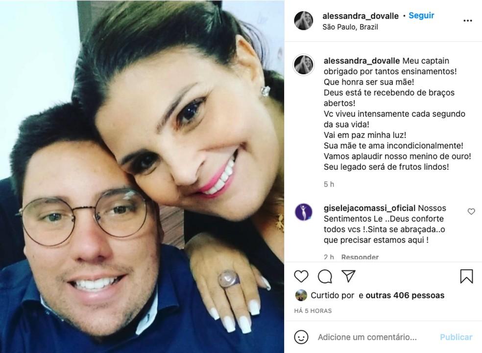 Alessandra do Valle faz homenagem a seu filho Lucas do Valle — Foto: Reprodução/Redes sociais