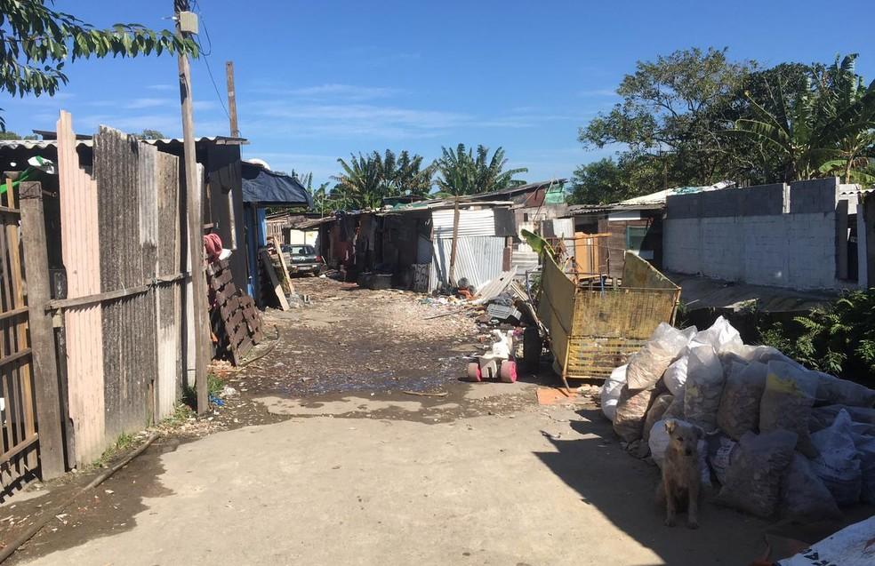 Comunidade Nova Mirim em Praia Grande, SP — Foto: Alex Ferreira/G1