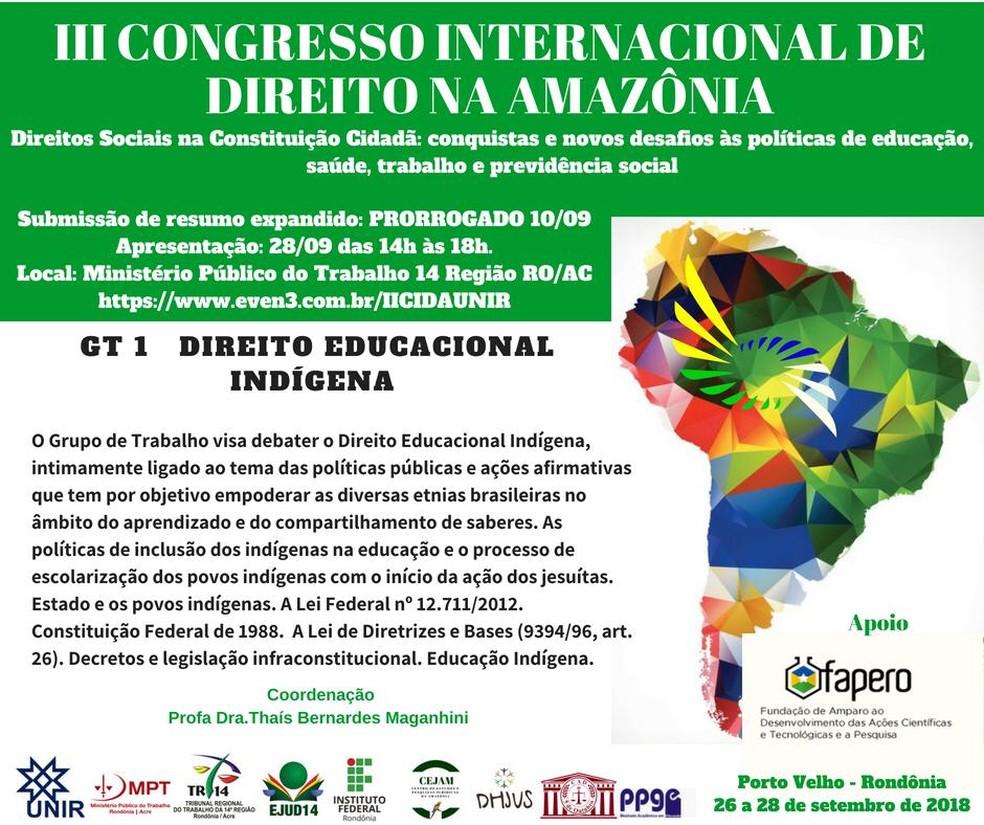 Congresso Internacional de Direito na Amazônia — Foto: Divulgação