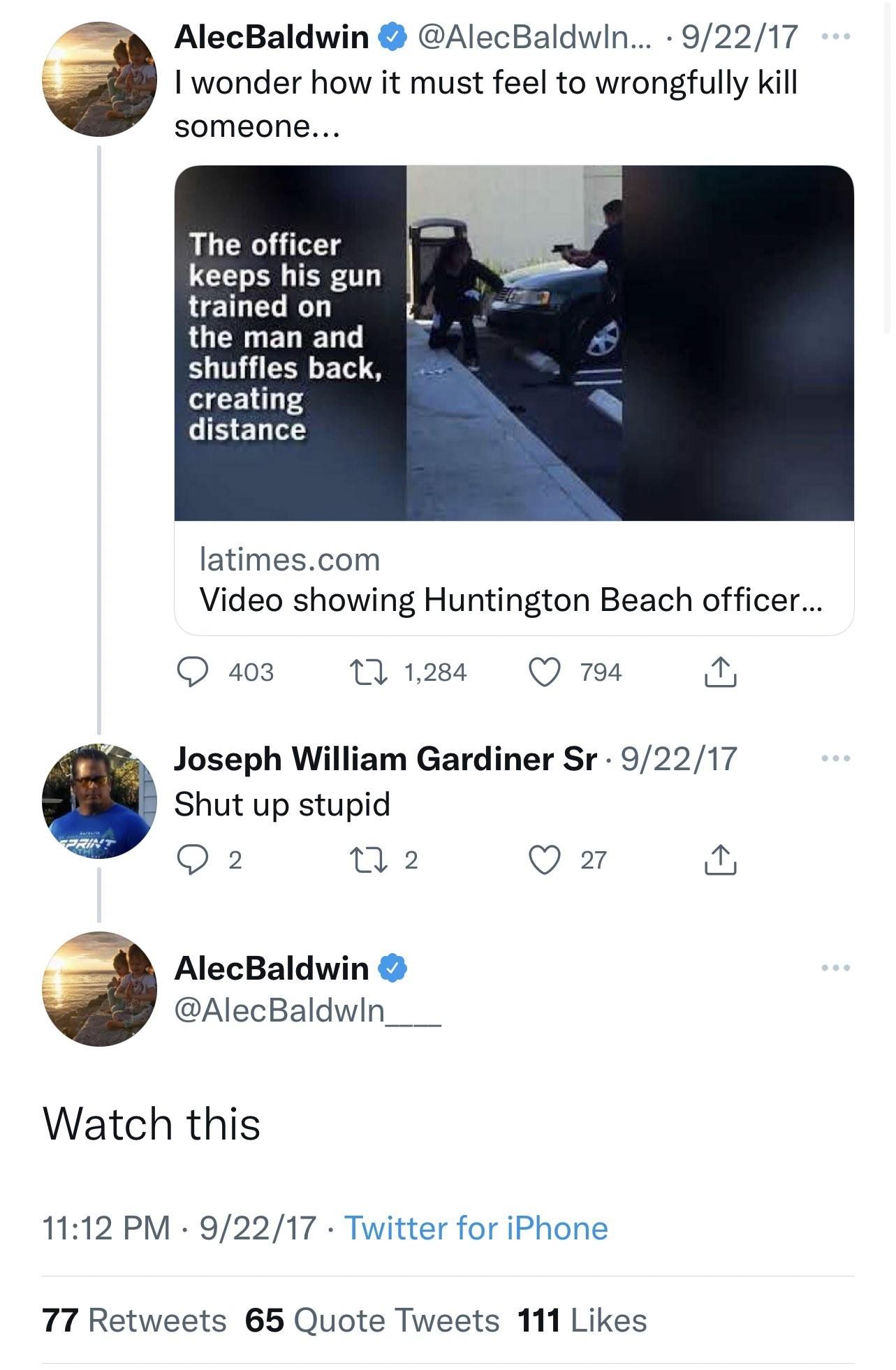 Alec Baldwin se perguntou como seria matar alguém por engano, em tuíte de 2017