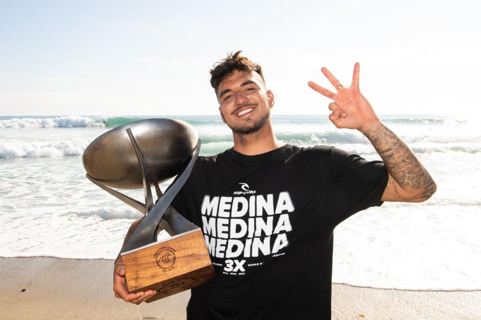 Gabriel Medina é tricampeão mundial — Foto: Pat Nolan/World Surf League via Getty Images