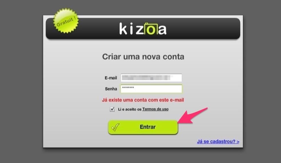 Ação para criar um perfil de usuário no serviço Kizoa para criar stories do Instagram — Foto: Reprodução/Marvin Costa