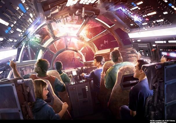 Nova atração Millennium Falcon: Smugglers Run (Foto: Divulgação/Disney)