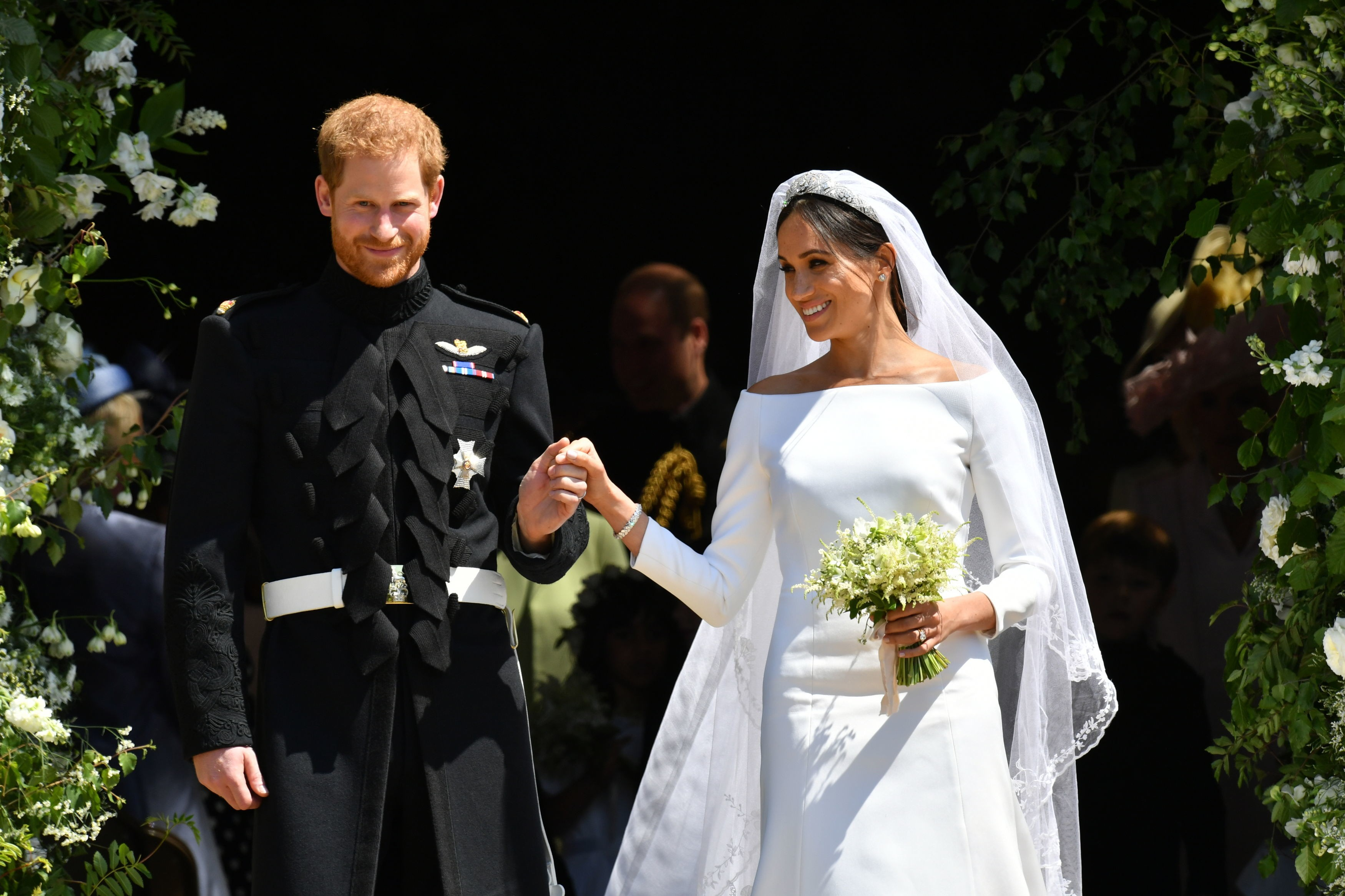 Meghan Markle e Príncipe Harry no dia de seu casamento, no Castelo de Windsor (Foto: Getty Images)