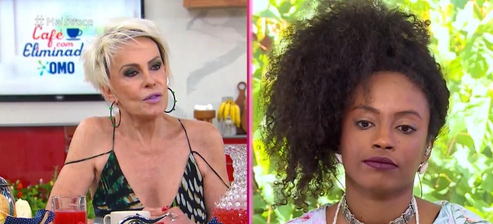 O papo de Lumena com Ana Maria Braga passou por assuntos como o conceito de branquitude — Foto: TV Globo