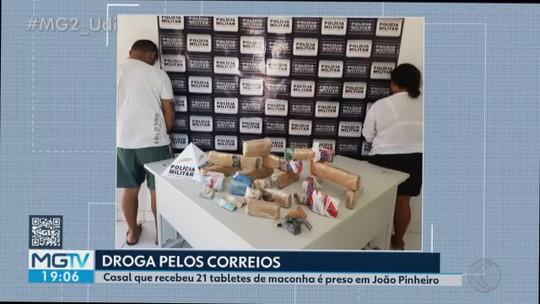 Casal é preso ao receber 20 tabletes de maconha pelos Correios em João Pinheiro
