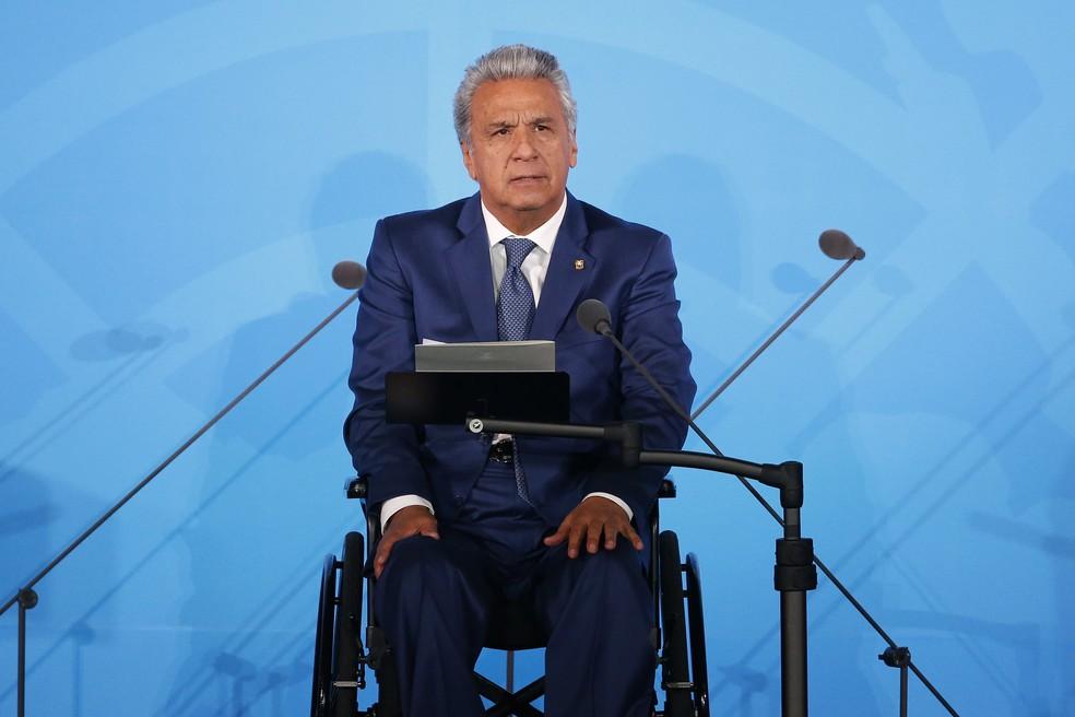 Lenín Moreno, presidente do Equador, em discurso na Assembleia Geral da ONU em setembro — Foto: Jason DeCrow/Arquivo/AP Photo