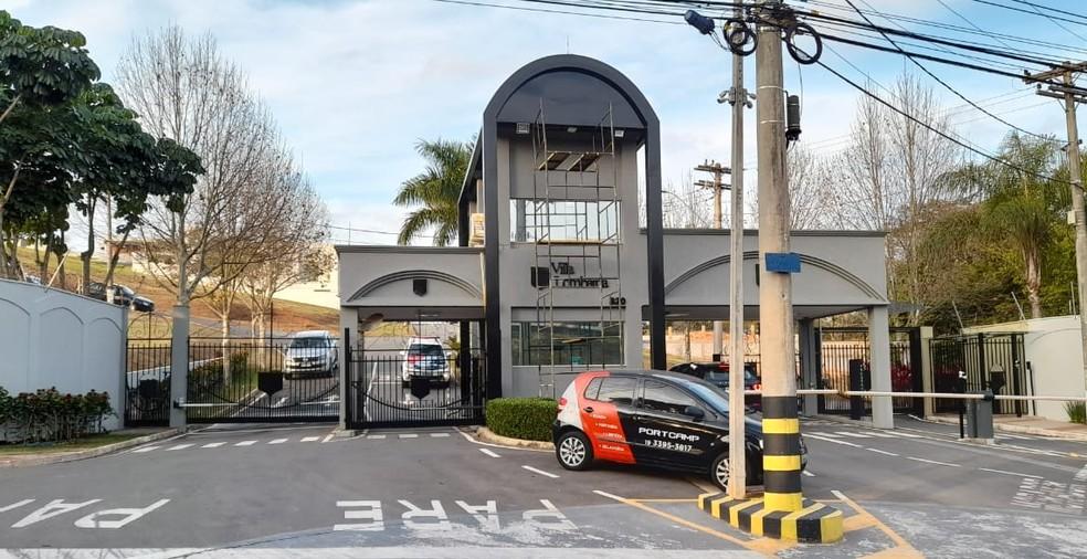 Condomínio de Valinhos (SP) onde ocorreu o crime nesta terça (3) — Foto: Jonatan Morel/EPTV