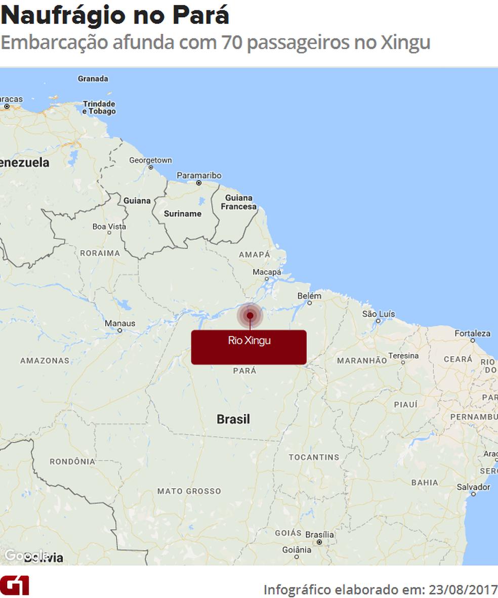 Embarcação com 70 passageiro naufraga no Rio Xingu (Foto: Editoria de Arte/G1)