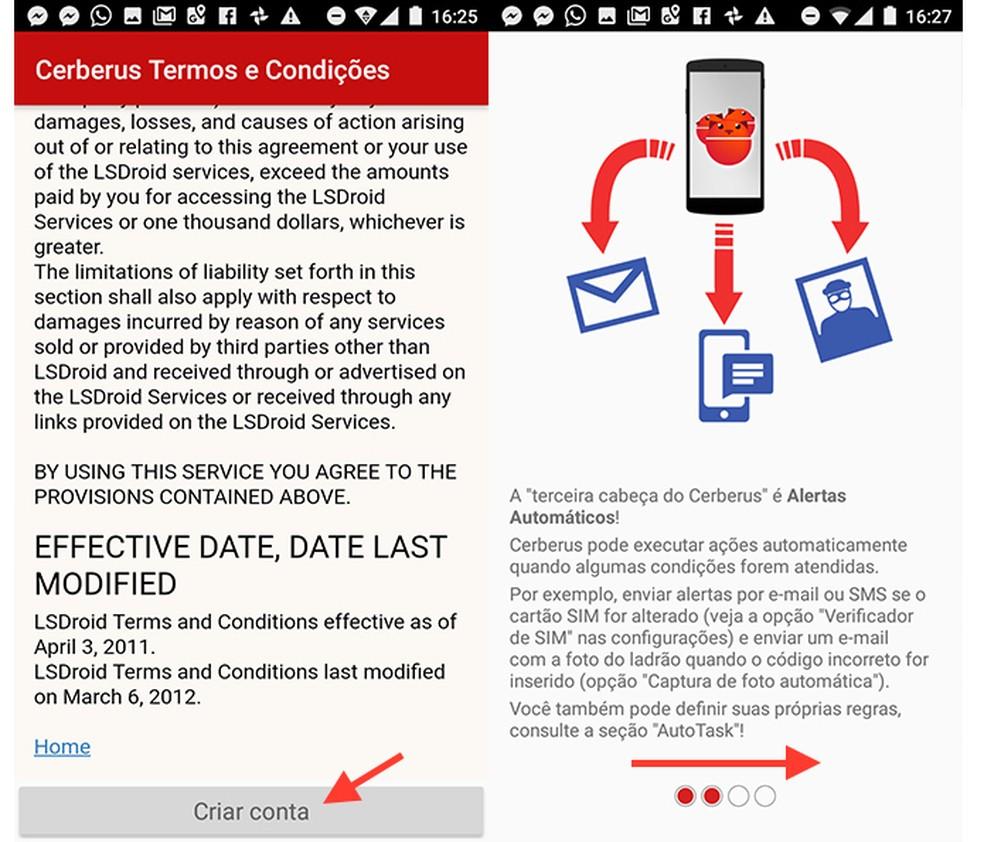 Opção para finalizar a criação de uma conta no app Cerberus (Foto: Reprodução/Marvin Costa)