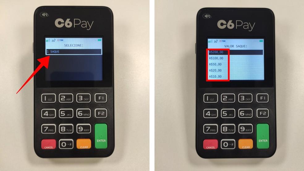 Acesse a opção saque e escolha um dos valores disponíveis — Foto: Divulgação/C6 Bank