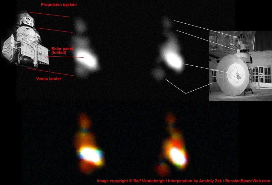 As manchas no centro é como os pesquisadores enxergam a Kosmos 482, ao lado a relação com as partes da sonda.  (Foto: Ralf Vandebergh)