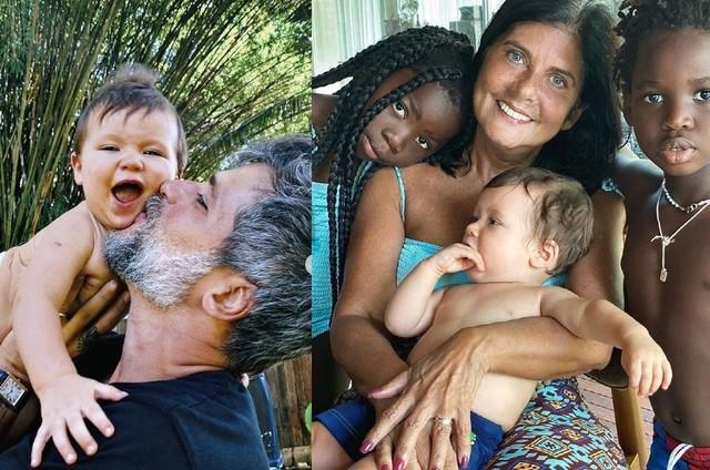 Bruno Gagliasso com Zyan e, à direita, a mãe dele com os outros filhos do ator (Foto: Reprodução/Instagram)
