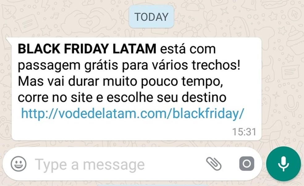 Mensagem compartilhada no WhatsApp tem descontos falsos em passagem área da LatAm — Foto: Reprodução / WhatsApp