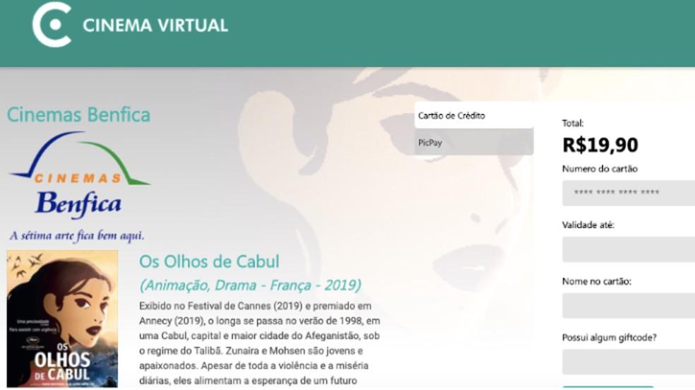 Cinema Virtual permite comprar filme para assistir por 72 horas com cartão de crédito ou PicPay — Foto: Reprodução/Paulo Alves