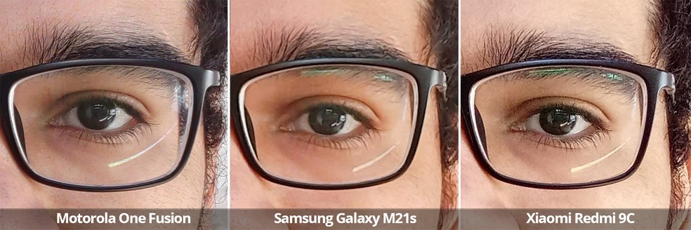 Comparativo das câmeras frontais do Motorola One Fusion, Samsung Galaxy M21s e Xiaomi Redmi 9C sob luz natural em detalhe. — Foto: Arquivo pessoal