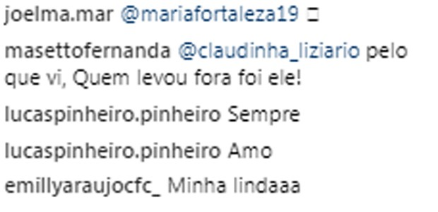 Comentários em post da Emilly ao Brasil (Foto: Reprodução/Instagram)