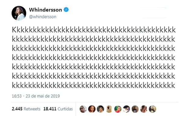 Whindersson Nunes deixa indireta para Carlinhos Maia (Foto: Reprodução/Twitter)