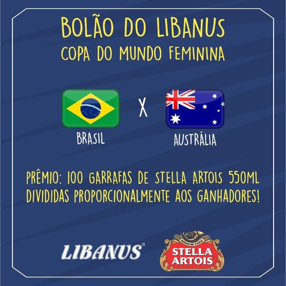 bar Libanus além de transmitir o jogo da seleção feminina — Foto: Reprodução/Facebook