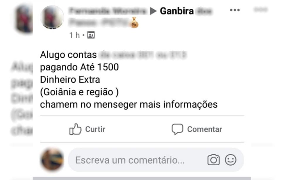 Criminosos anunciavam em redes sociais o interesse de alugar contas para os depósitos indevidos, em Goiás — Foto: Polícia Civil/ Divulgação